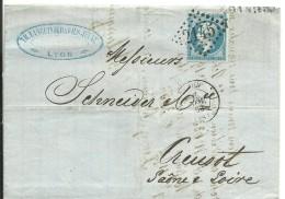 CARTA  1863  LYON A LE CREUZOT  ESCANER - Marcofilia (sobres)