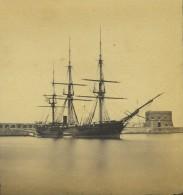 Stéréo Circa 1860. Italie. Civitavecchia. L'antemurale. Voilier. Bateau. - Fotos Estereoscópicas