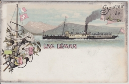 Lac Léman - Dampfschiff, Bateau à Vapeur - Farbige Litho - VD Vaud
