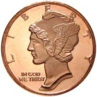 Copper Cobre Cuivre Round 2011 Stati Uniti - Medaglia Da Un Oncia Once In Rame MERCURY HEAD Proof - Etats-Unis