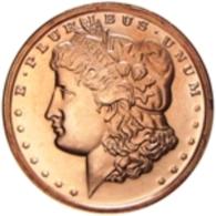 Copper Cobre Cuivre Round 2011 Stati Uniti - Medaglia Da Un Oncia Once In Rame MORGAN HEAD DOLLAR Proof - Etats-Unis