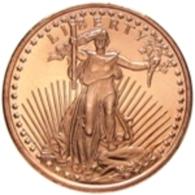 Copper Cobre Cuivre Round 2011 Stati Uniti - Medaglia Da Un Oncia Once In Rame WALKING LIBERTY Proof - Etats-Unis