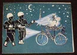 Christmas Joyeux Noël Paris City Of Light Police Militaire MP -  Illustrateur Inconnu  Carte Postale 2 Volets - Illustrators & Photographers