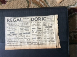 M1-7 Ephemera 1949 Walthamstow Advert Regal Doric We Dive At Dawn Eric Porter Moira Lister - Publicités