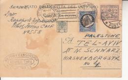 1945 - Intero Da 50 Cent. Per La Palestina -  Timbro Censura - Vatican