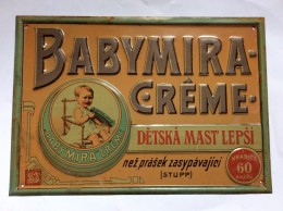 PLAQUE   VINTAGE TIN SIGN SIGN   BABYMIRA CREME   DETSKA MAST LEPSI   CZECH  REPUBLIC   1920's  33 X 23 Cm. - Nettoyage