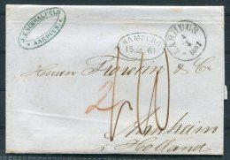 1861 Denmark Aarhus Hamburg Entire -  Arnheim, Netherlands - Danimarca