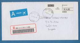 208173 / 2004 - 4.60 E. BTAASRODE Franking Labels , REGISTERED , SOFIA , Belgique Belgium Belgien Belgio - Belgium