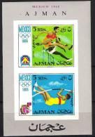 AJMAN Jeux Olympiques MEXICO 68. Yvert BF 32B. ** MNH. Haies, Saut A La Perche - Summer 1968: Mexico City