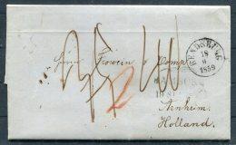 1859 Denmark Rendsburg Schleswig Holstein Hamburg Entire -  Arnheim, Netherlands - Danimarca