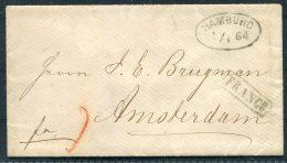 1864 Hamburg FRANCO Cover -  Amsterdam, Netherlands - Hamburg