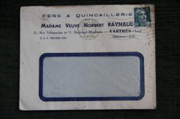 Enveloppe Publicitaire , CASTRES, Madame Veuve Norbert RAYNAUD, Fers Et Quincaillerie, 22 Rue Villegoudou - Lettres & Documents