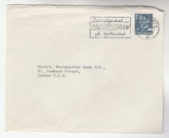 1958 DENMARK Stamps COVER SLOGAN Pmk Detrigtige Er Et STATSTELEGRAM Pa Festblasnket ,to GB,  Telegramme Telegram - Denmark