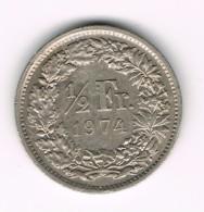1/2 Franc Suisse - Helvetia Debout - 1974. - Suisse