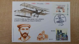 Carte Maxi Illustration De Roland Irolla : Aviateur Henri Farman De Bouy à Reims + TimbreaMoi - France