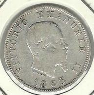ITALIA - ITALY 1 LIRA 1863 PICK KM5a.2 VF SILVER - 1861-1946 : Kingdom