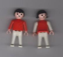 COUPLE  ENFANTS ( GARCON ET FILLE  ) / 5.5cm /  HABILLES  EN ROUGE  / GEOBRA  1981 - Playmobil