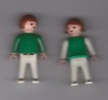 COUPLE  ENFANTS ( GARCON ET FILLE  ) / 5.5cm /  HABILLES  EN  VERT  / GEOBRA  1981 - Playmobil