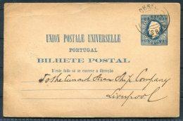 1884 Portugal Lisboa Stationery Postcard - Cunard Line Steamship Company Liverpool - Cartas