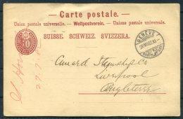 1882 Switzerland Geneve Stationery Postcard - Cunard Line Steamship Company Liverpool - Cartas