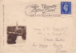 STRATFORD UPON AVON - WARWICKSHIRE - ENGLAND - RARE VIGNETTE LETTER CARD 1939. - Stratford Upon Avon