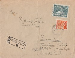Böhmen & Mähren R-Brief Mif Minr.38, 57 Brandeis - Besetzungen 1938-45