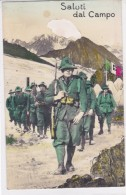 CARD ALPINI  SALUTI DAL CAMPO ALPINI IN MARCIA 3°REGGIMENTO?GIBERNE FUCILI PELATURA ININFLUENTE   -FP-N-2-0882-25208 - Militaria