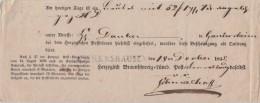 Braunschweig Einlieferungsschein L1 Eschershausen 18.12.1845 - Brunswick