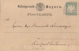 Bayern Ganzsachen-Karte Halbkreisstempel Kirchheimbolanden - Bayern
