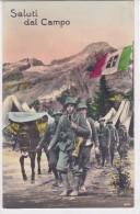 CARD ALPINI    SALUTI DAL CAMPO  ALPINI IN MARCIA MULO CON FIENO BANDIERA TRICOLORE STEMMA REALE  -FP-N-2-0882-25211 - Militaria