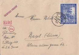 Gemeina. Brief EF Minr.966 Stuttgart 28.1.48 Gel. In Schweiz - Gemeinschaftsausgaben
