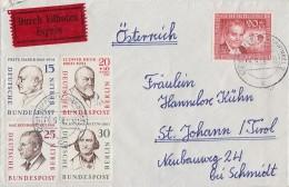 Berlin Brief Eilbote Mif Minr.166,168,169,170 178 Wuppertal 4.9.58 Gel. Nach Österreich - Briefe U. Dokumente