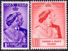 GILBERT & ELLICE 1949 SG #57-58 Compl.set MH Royal Silver Wedding - Îles Gilbert Et Ellice (...-1979)