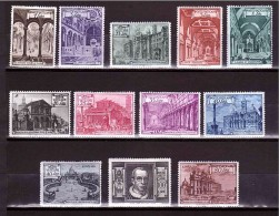 VATICAN 1949 Basilicas Cpl Set Of 12 Stamps Sassone  Cat. N° 122/131+ Express 11/12 Mint Hinged - Vatican