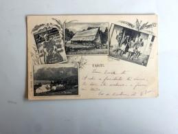 Carte Postale Ancienne : TAHITI : Marquises, Reine Vaïkehu, Maison De La Reine, Taiohae , Timbre 1903, F. Holmes, Tahiti - Tahiti