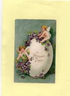C3004 - Heureuses Pâques - Carte Gaufrée - ANGES - Easter