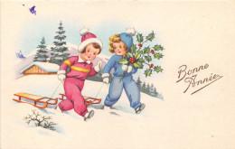 CPA Fantaisie - Illustrateur - Enfants - Luge - Bonne Année - Illustrateurs & Photographes