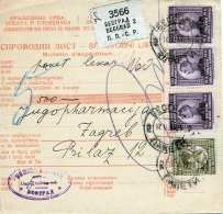 SERBIEN 1917 - 2 D + 3x8 D Auf Paketkarte Gel.v.Beograd > Zagreb - Serbien