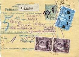 SLOVENACA 19?? - 10 Para Ganzsache + 5 + 8 + 8 D (alle Mit Wert Überdruck) Auf Paketkarte Von Zlatar > Zagreb - Slowenien