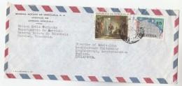 1986 Air Mail VENEZUELA COVER Stamps CARLOTA CORDAY ART, MAP To GB - Venezuela