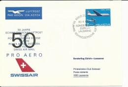 SF 69.4, Swissair, PRO AERO, Vol Spécial Zurich - Lausanne, 1969 - Poste Aérienne