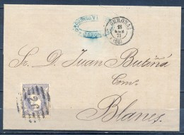 1871 , GERONA , CARTA CIRCULADA A BLANES , MATASELLOS PARRILLA CON NÚMERO Nº 26 Y FECHADOR DE GERONA. - 1868-70 Gobierno Provisional