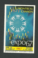 B34-21 CANADA Montreal Expo67 Advertising Label MNH - Local, Strike, Seals & Cinderellas