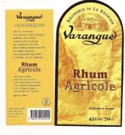 Etiquette  RHUM  Agricole  Varangue - Rhumerie De La Réunion, Saint-Paul - 70cl  - 45° - LA REUNION - - Rum