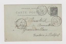 1897.Entier Postal Type Sage Avec Cachet Commercial De La Mercerie Marie Ramard 3 Rue De La Poissonnerie à Dinan.22. - 1877-1920: Période Semi Moderne