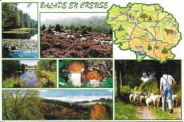 CARTE GEOGRAPHIE  FRANCE  REGION  BALADE EN CREUSE  PAYSAGES CHAMPIGNON BOLET  EDIT. FRANCE REGARD - Landkaarten