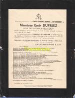 FAIRE PART MORTUAIRE DOODSBRIEF EMIR DUPRIEZ NATHALIE BLICQUY 1937 HERGNIES - Obituary Notices