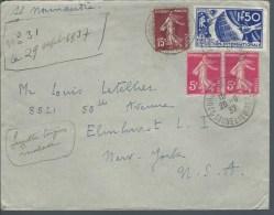 Lettre De France Pour USA  Par Paquebot Normandie Affran Avec N)327 + Complément - Marcophilie (Lettres)