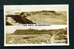 ENGLAND  -  Scarborough  Two Bays  Dual View  Used Vintage Postcard As Scans - Scarborough