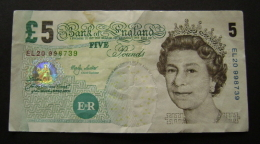 5 FIVE POUNDS ENGLAND GREAT BRITAIN    BANKNOTE - Groot-Brittanië